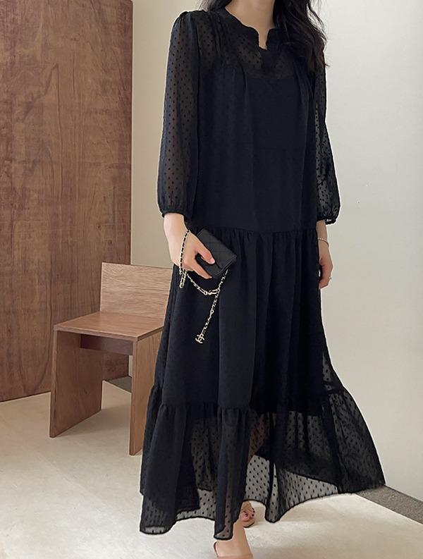 ssumj-시스루 도트 캉캉 원피스(이너슬립 세트)♡韓國女裝連身裙套裝