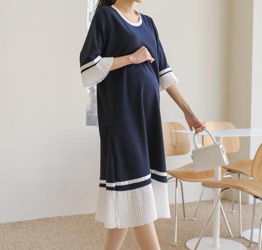 soim-[임부복*블랑배색플리츠 임산부원피스]♡韓國孕婦裝連身裙