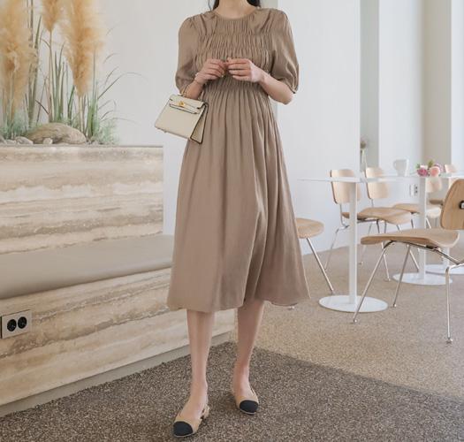 soim-[임부복*셔링D라인 임산부원피스]♡韓國孕婦裝連身裙
