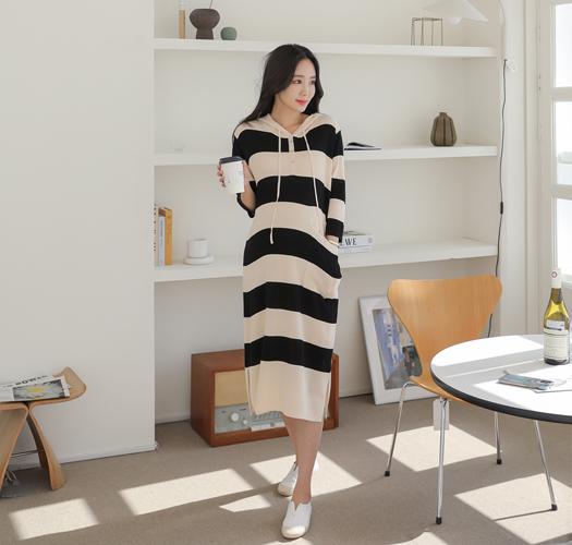 soim-[임부복*단후드쿨니트 임산부원피스]♡韓國孕婦裝連身裙