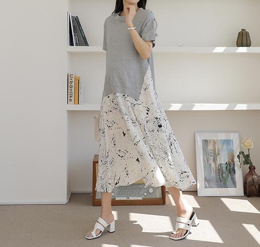 soim-[임부복*패턴배색 임산부원피스]♡韓國孕婦裝連身裙