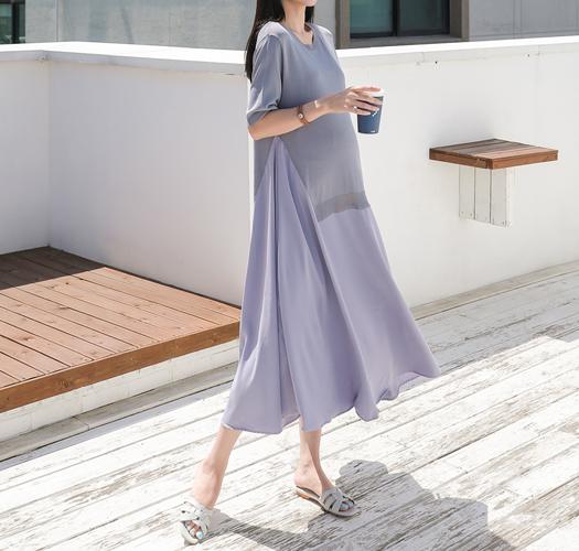 soim-[임부복*쿨래시쉬폰배색 임산부원피스]♡韓國孕婦裝連身裙