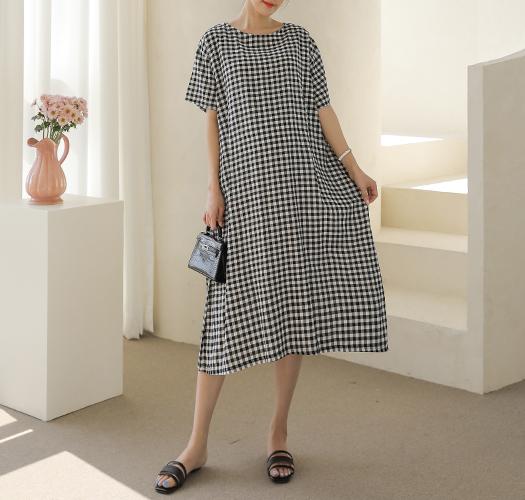 soim-[임부복*고방체크뒷셔링 임산부원피스]♡韓國孕婦裝連身裙