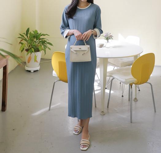 soim-[임부복*구김없는소매배색 임산부원피스]♡韓國孕婦裝連身裙