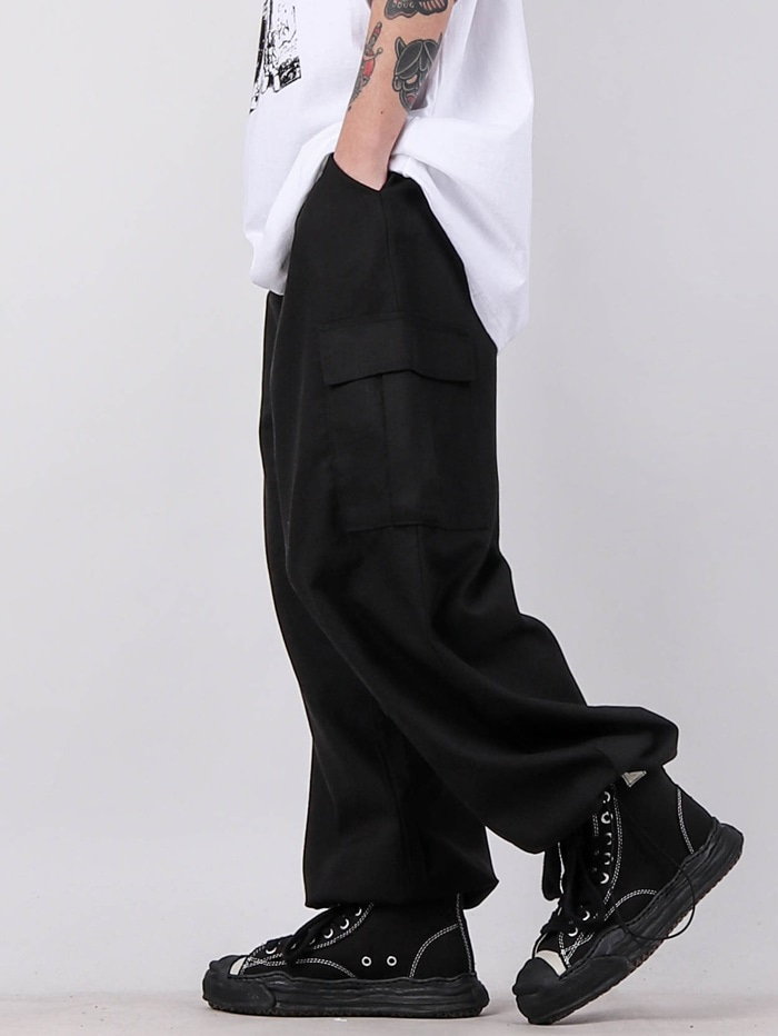 justyoung-SN Tencel Cargo String Pants (2color)♡韓國男裝褲子