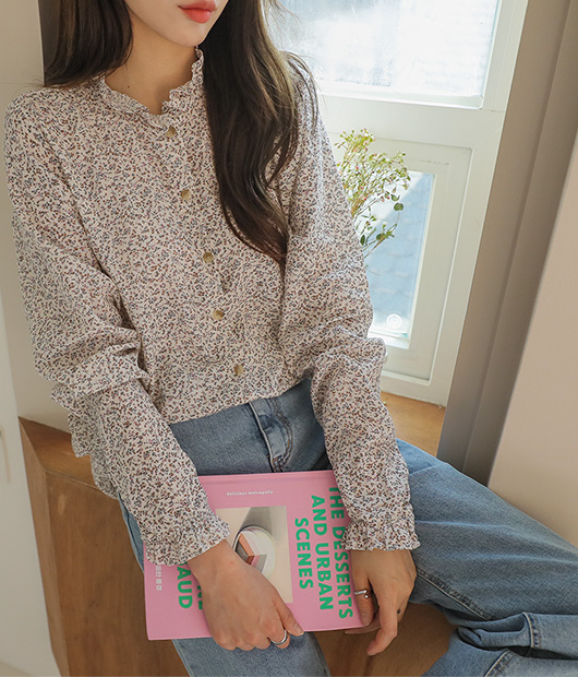 roompacker-룸페커 [제이니 플라워 프릴 블라우스]♡韓國女裝上衣