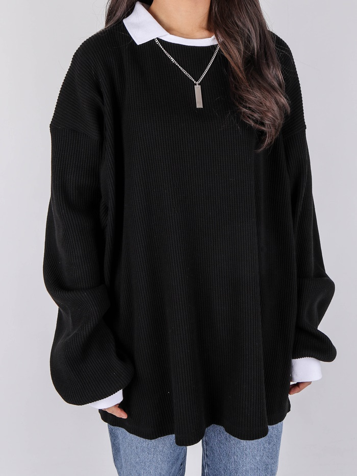 justyoung-OS Waffle Color Collar Long Sleeve Tee (2color)♡韓國男裝上衣