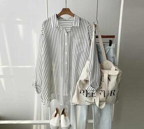 beige blanc-마리 포켓 스트라이프 셔츠]♡韓國女裝上衣