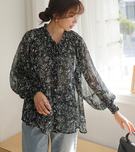 roompacker-룸페커 [너츠 플라워 프릴 블라우스 (네이비)]♡韓國女裝上衣
