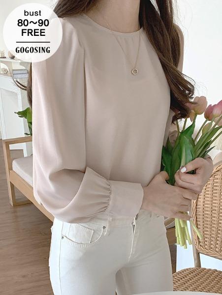 ggsing-[5일9시까지9%할인]셔링 링클블라우스 (라운드넥,긴팔,무료배송)♡韓國女裝上衣