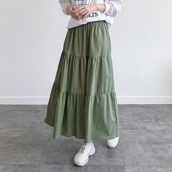 fashion-full-가가 프릴 롱 스커트♡韓國女裝裙