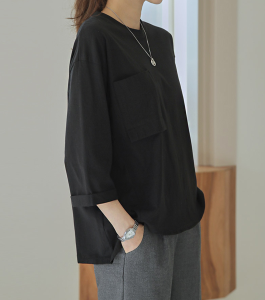 roompacker-룸페커 [루니 언발란스 절개 스판티셔츠]♡韓國女裝上衣