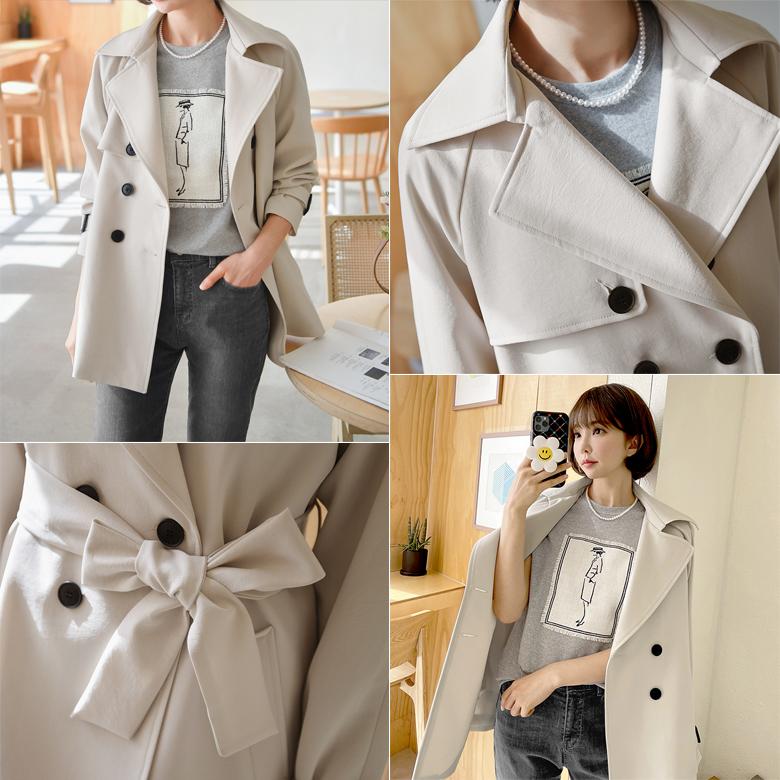 midasb-[[벨트set]유리아 더블버튼 트렌치자켓]♡韓國女裝外套