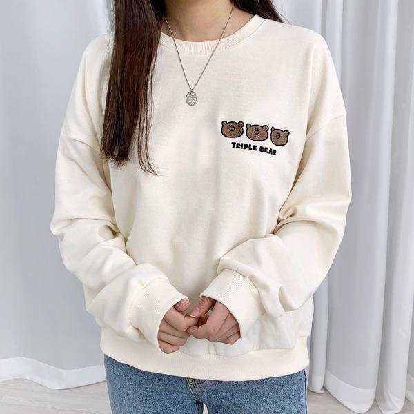 bullang-[귀요미] 곰 세마리 자수 맨투맨♡韓國女裝上衣