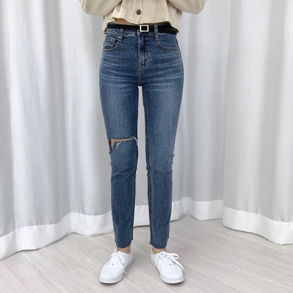 bullang-[예쁜핏] 로세 트임 슬림 데님 팬츠♡韓國女裝褲