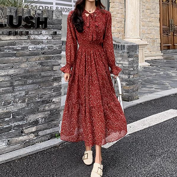 fashion-full-로멜 브이넥 플라워 원피스♡韓國女裝連身裙