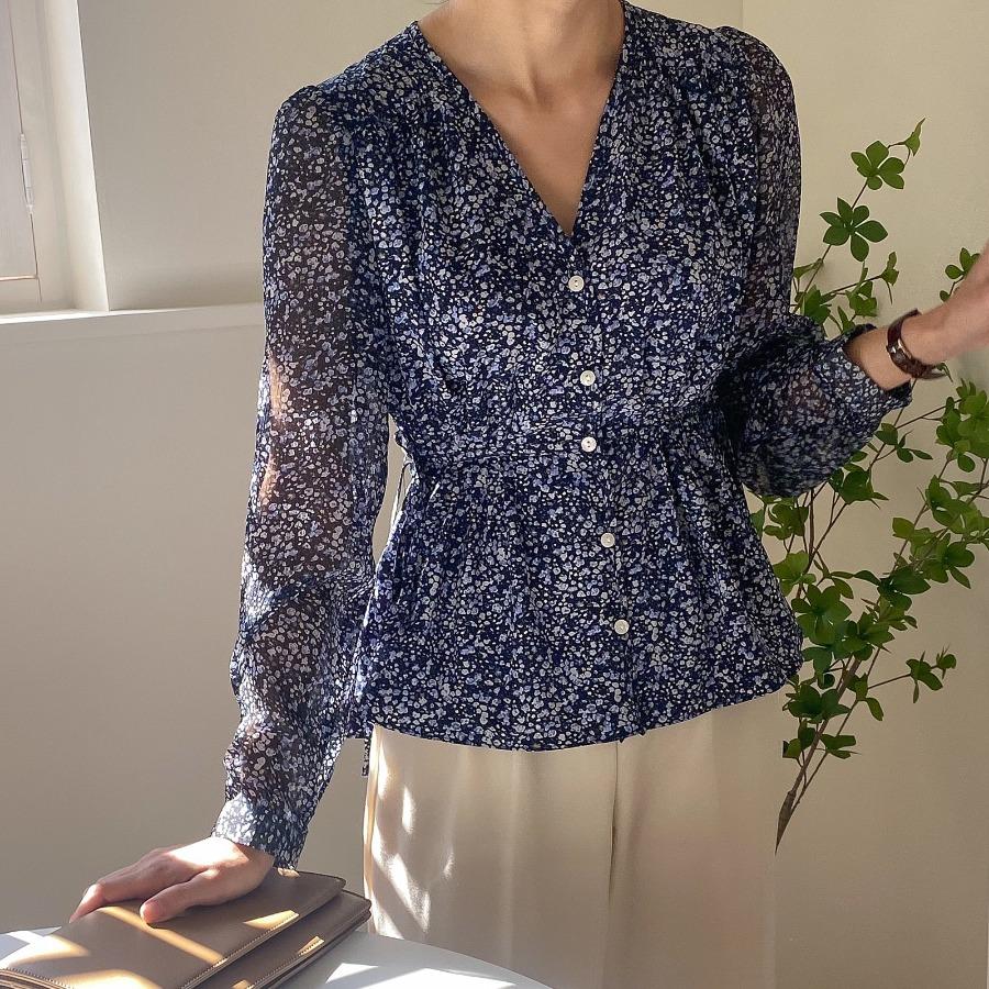 jjrella-퍼핑 브이넥 포인트  패턴 언발 블라우스♡韓國女裝上衣