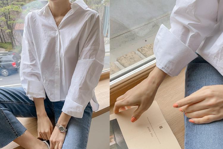 loveparis-NEW★10%할인3/10(수)부터 정상가44,000원프레쉬 코튼 언발셔츠(2color)♡韓國女裝上衣
