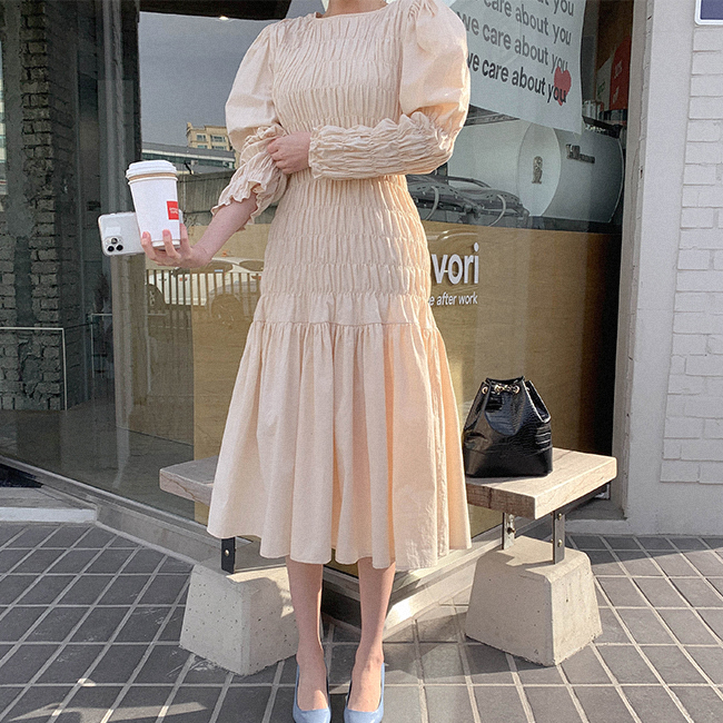 cherryville-[스모크라인예술 롱원피스]♡韓國女裝連身裙