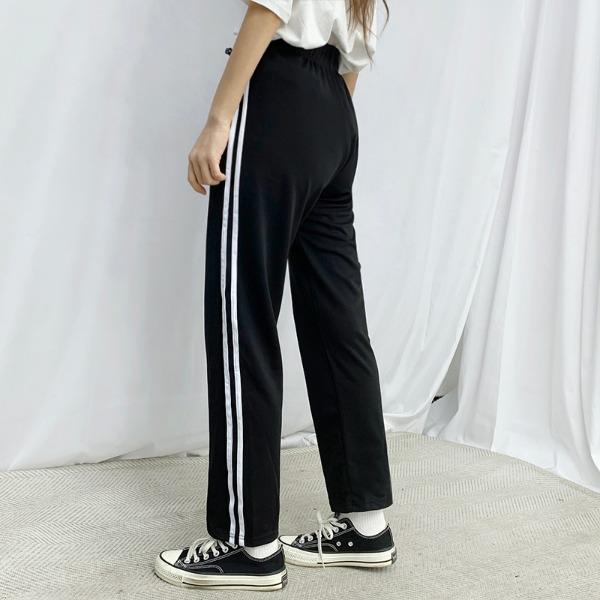 bullang-[집앞룩/4color] 투라인 레터링 트레이닝 팬츠♡韓國女裝褲