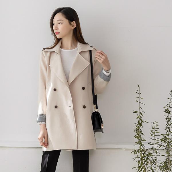 misscandy-[no.20131 체크소매 더블버튼 하프자켓]♡韓國女裝外套