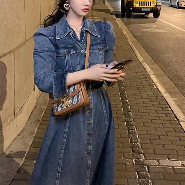 fashion-full-피넛 데님 롱 원피스 & 벨트 SET (7~10일 소요)♡韓國女裝連身裙