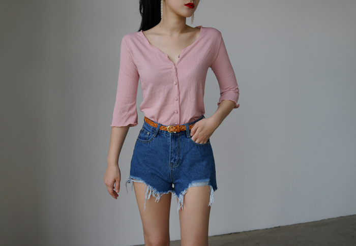 anndaly-E - sale 18900-> 9500 / 버튼 티셔츠 (4color)♡韓國女裝上衣