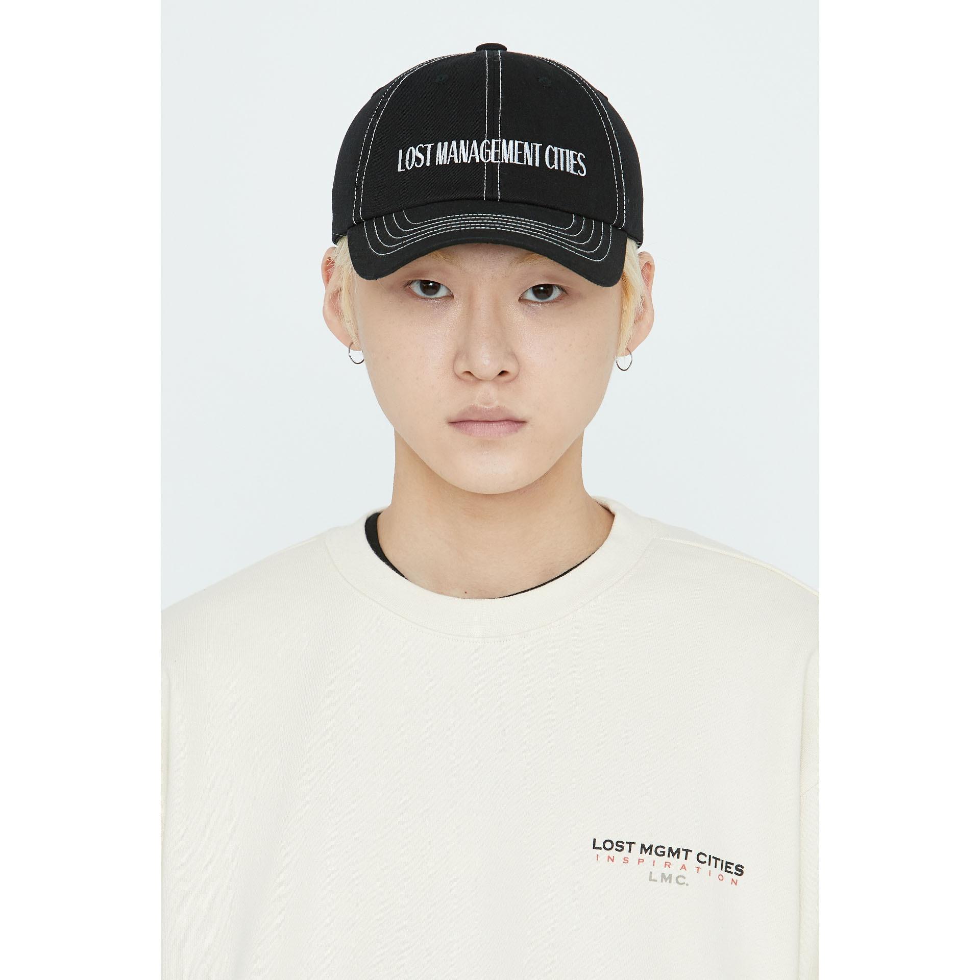 layer-LMC CONTRAST STITCH CANVAS 6 PANEL CAP black♡韓國男裝飾品