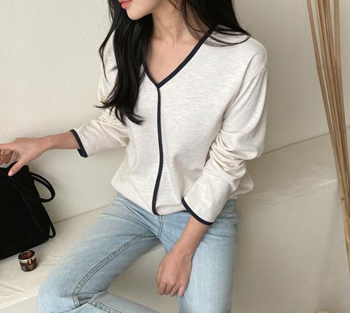 beige blanc-셀리 배색 브이넥 티셔츠]♡韓國女裝上衣