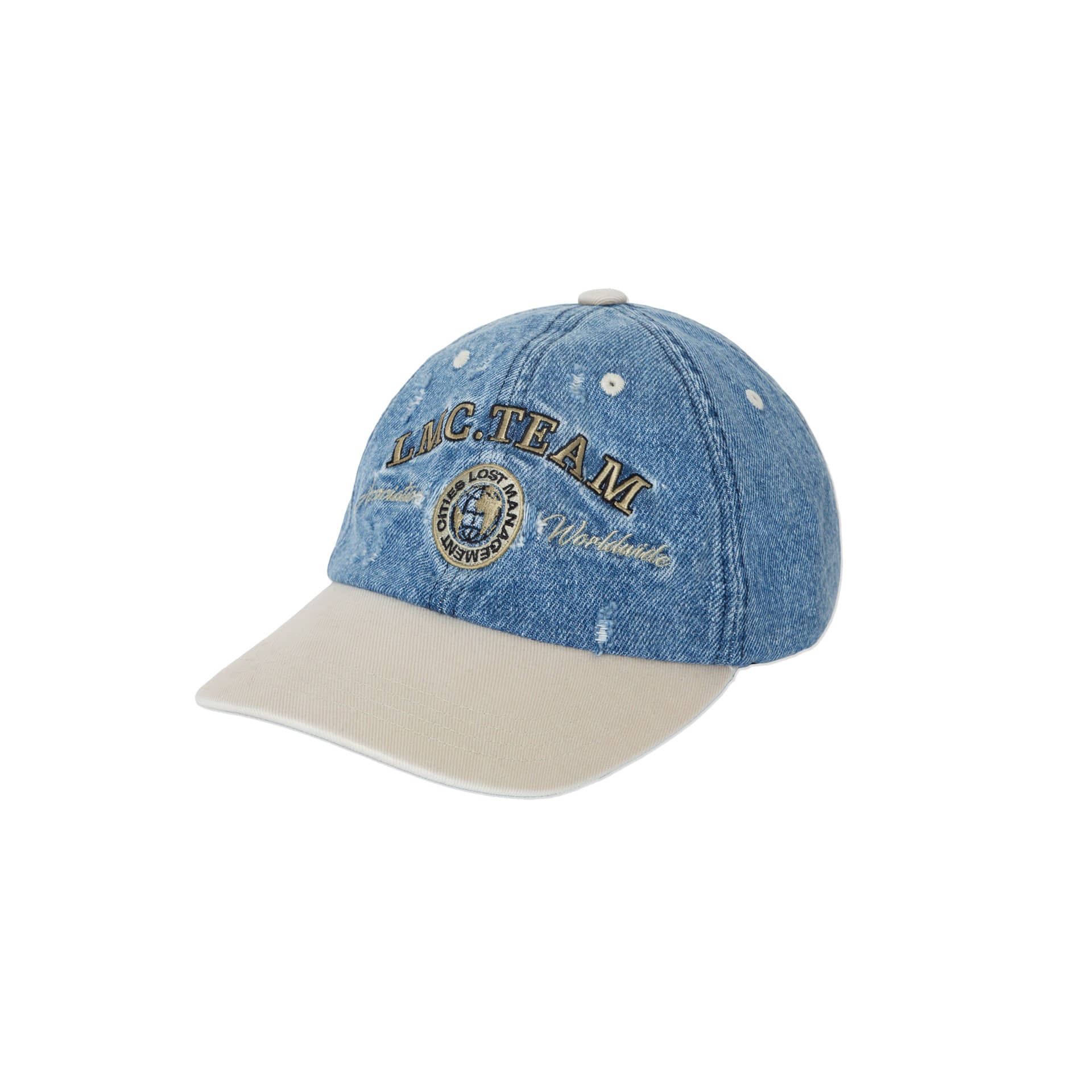 layer-LMC TWO TONE WASHED DENIM 6 PANEL CAP blue♡韓國男裝飾品