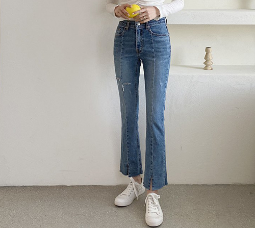 beige blanc-제이미 절개 세미부츠컷 데님 팬츠]♡韓國女裝褲
