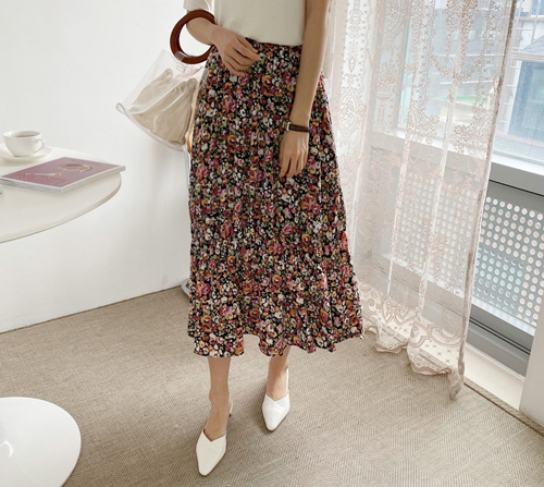 beige blanc-메이링 플라워 프릴 롱 스커트]♡韓國女裝裙