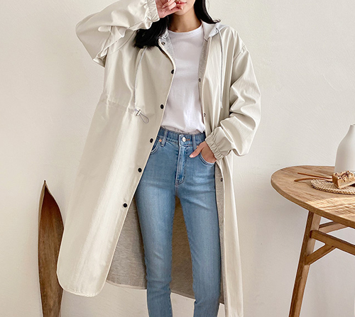 beige blanc-디본 후드 배색 롱 야상 점퍼]♡韓國女裝上衣