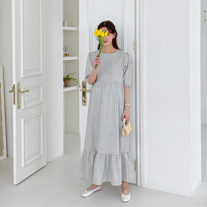 momnuri-임부복*펌킨체크 원피스 ♡韓國孕婦裝連身裙