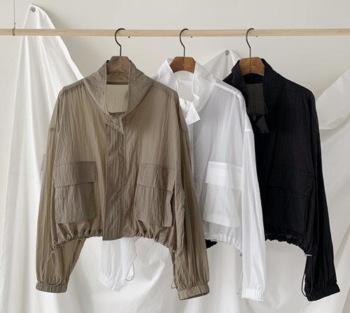 beige blanc-여름에 입는 얇은 숏 점퍼]♡韓國女裝上衣
