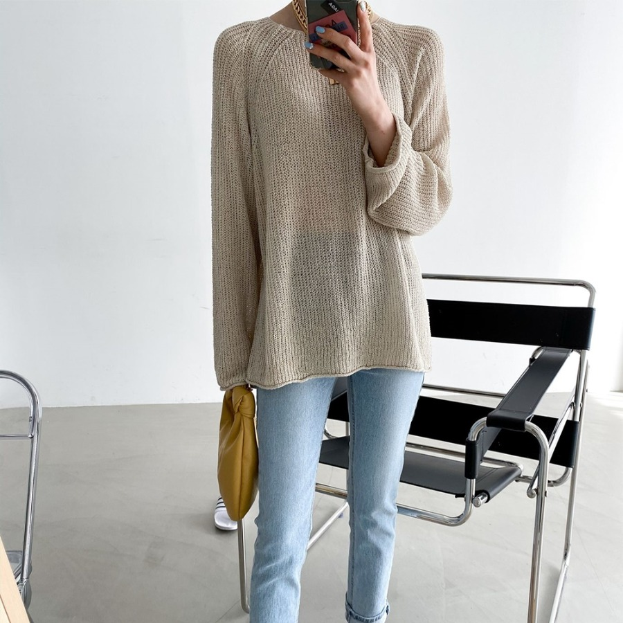 jjrella-에이미 입술넥 여리여리 구멍 니트♡韓國女裝上衣