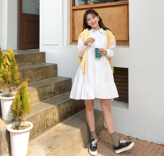 soim-[임부복*캉캉셔츠미니 임산부원피스(수유가능)]♡韓國孕婦裝連身裙