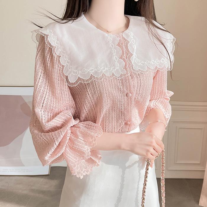 myfiona-세일카라 레이스 블라우스 a1386 - 러블리 로맨틱룩 1위 쇼핑몰 피오나♡韓國女裝上衣