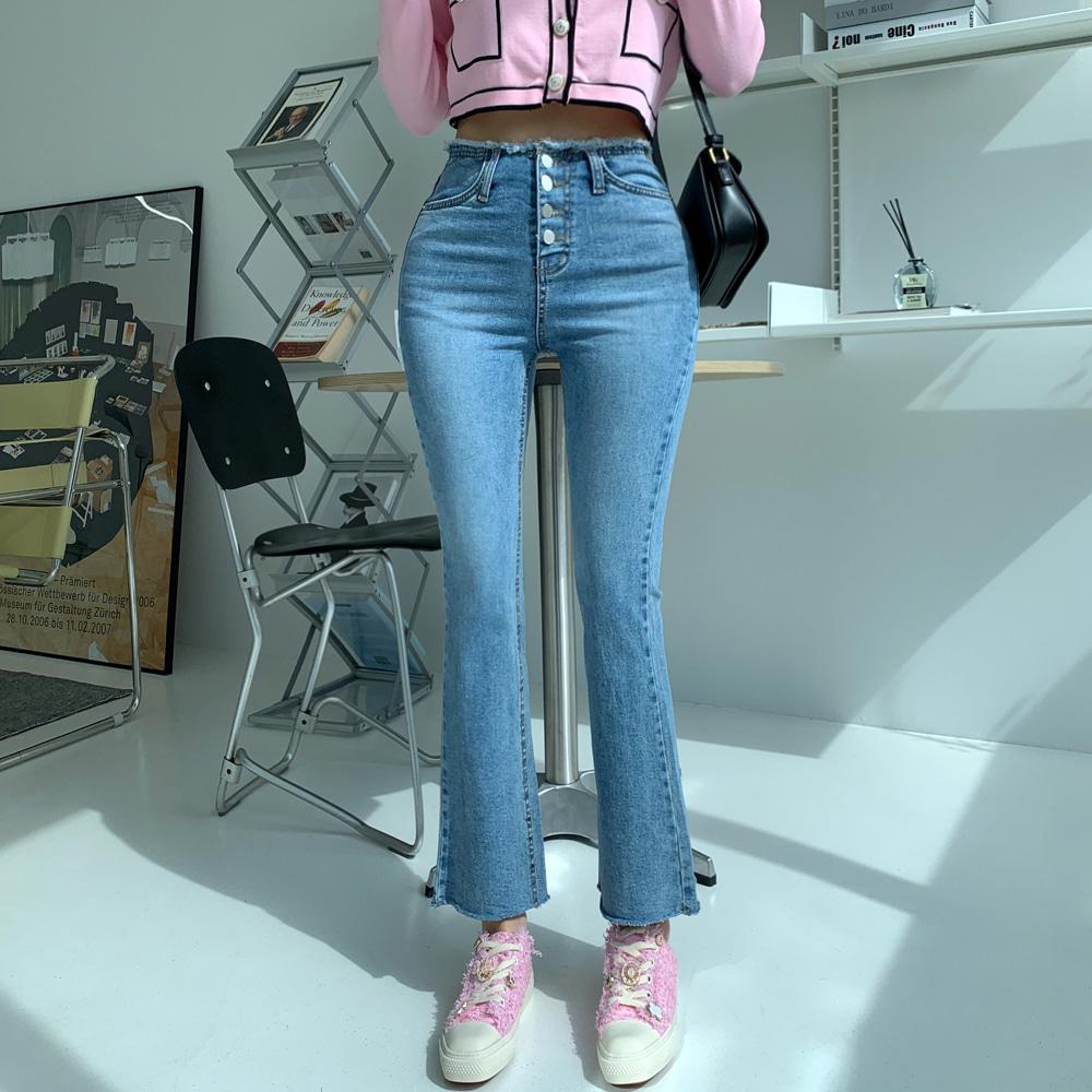 uinme-인디안 포버튼 부츠컷 - 유인미인디안 포버튼 부츠컷 - 유인미♡韓國女裝褲