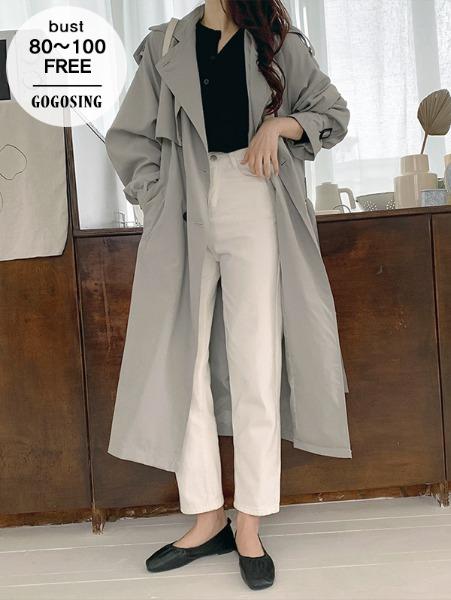 ggsing-디테일 트렌치코트 (롱,루즈핏,무료배송)♡韓國女裝外套