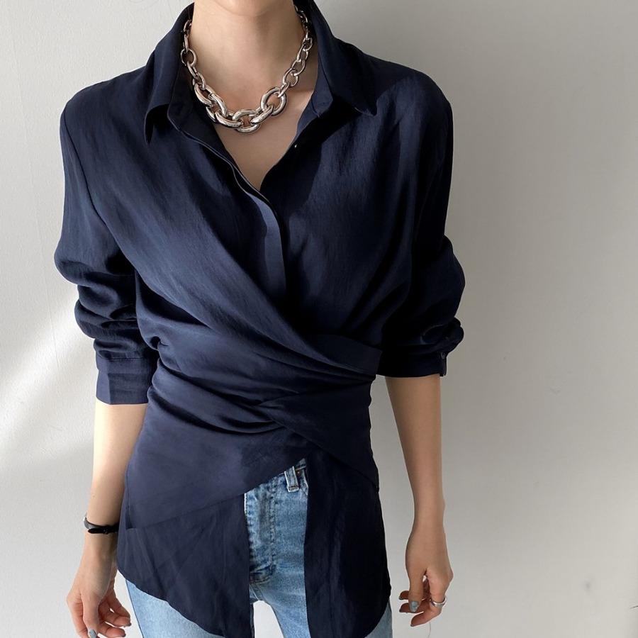 jjrella-쌀롱 크로스 꼬임 랩 셔츠 블라우스♡韓國女裝上衣