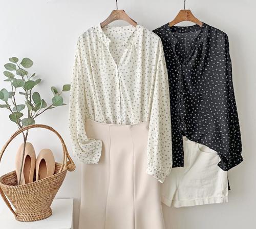 beige blanc-차르르 도트 셔링 블라우스]♡韓國女裝上衣