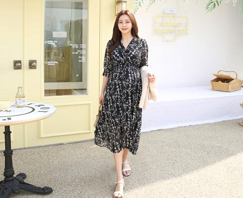 happy10-[*신상5% 기간한정할인*임부복*살랑쉬폰 스모크 원피스]♡韓國孕婦裝連身裙