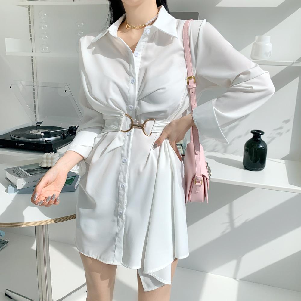uinme-뮤뮤 셔츠 원피스 - [ 2color ] - 유인미뮤뮤 셔츠 원피스 - [ 2color ] - 유인미♡韓國女裝連身裙