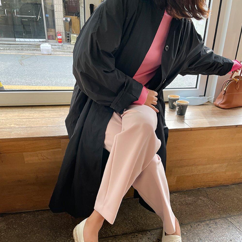 littleblack-롱 블랙 트렌치♡韓國女裝外套