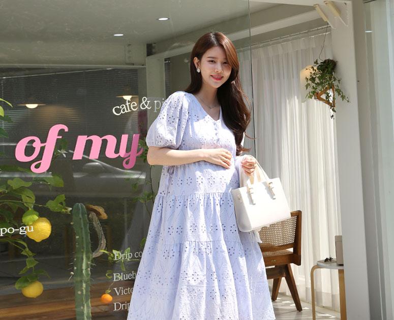 happy10-[*신상5% 기간한정할인*임부복*로맨틱펀칭 원피스]♡韓國孕婦裝連身裙