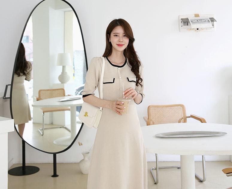 happy10-[*신상5% 기간한정할인*임부복*모더닝무드 니트원피스]♡韓國孕婦裝連身裙