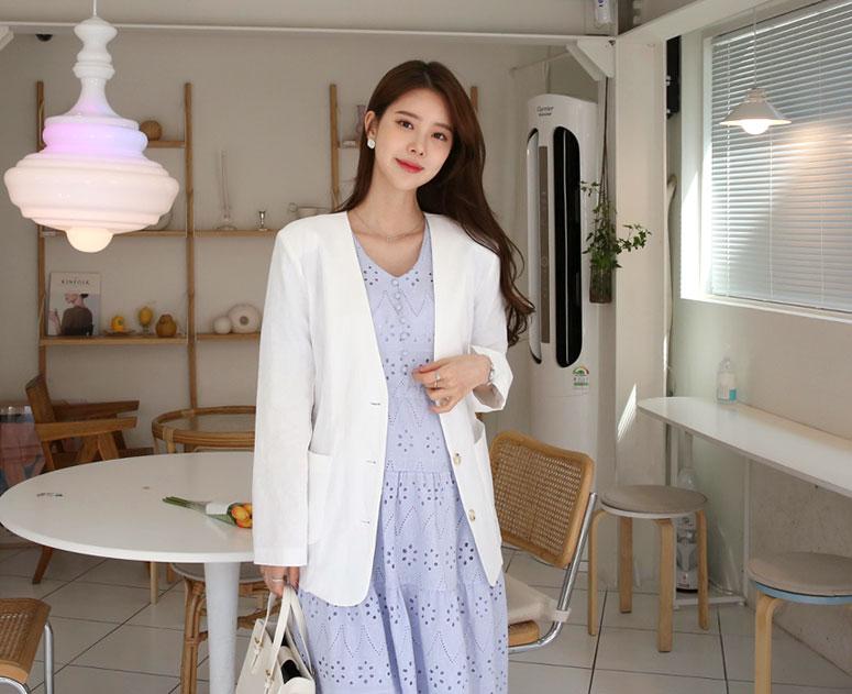 happy10-[*신상5% 기간한정할인*임부복*노카라심플 린넨 자켓]♡韓國孕婦裝外套