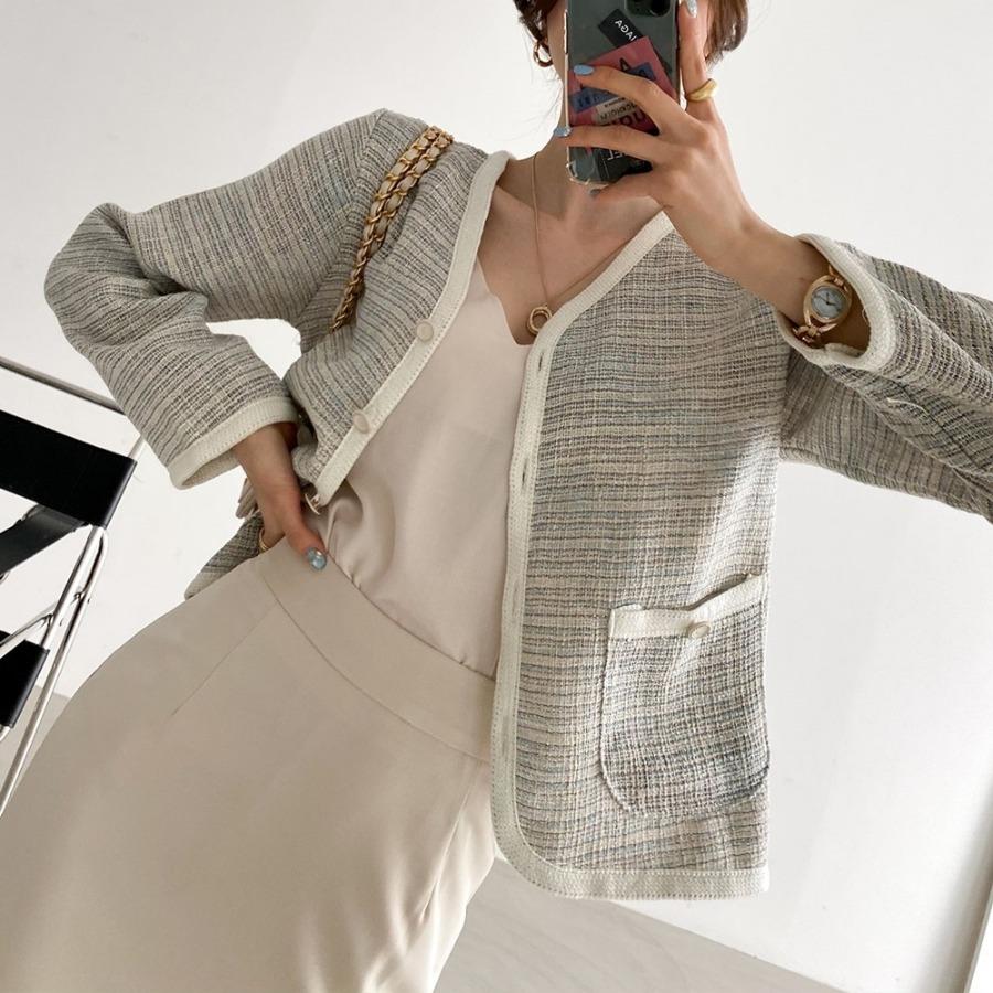 jjrella-나인 배색 브이넥 트위드 가디건♡韓國女裝外套