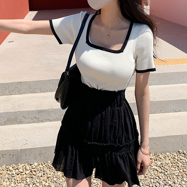 sweetglam-론테 배색 니트 탑♡韓國女裝上衣